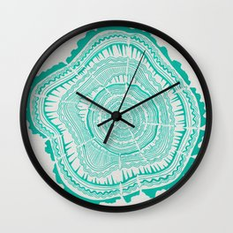 Turquoise Tree Rings Wall Clock