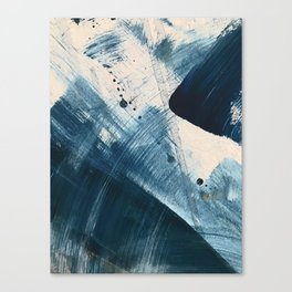 Against the Current [2]: A bold, minimal abstract acrylic piece in blue, white and gold Canvas Print