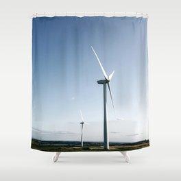 wind turbine in derbyshire Shower Curtain