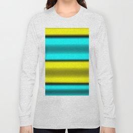 Yellow & Cyan Horizontal Stripes Long Sleeve T-shirt