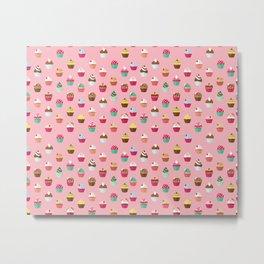 Tasty Cupcake Pattern Metal Print