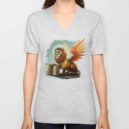 Winged Lion the symbol of Venice Unisex V-Neck