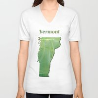 vermont V-neck T-shirts featuring Vermont Map by Roger Wedegis