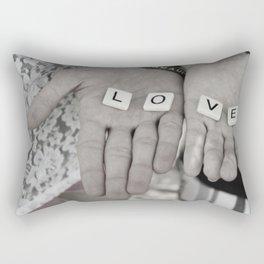 Love- a couple holding tiles spelling Rectangular Pillow
