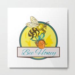 Bee Carrying Honey Pot Circle Drawing Metal Print