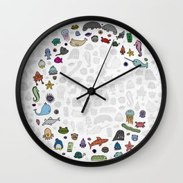 letter c - sea creatures Wall Clock