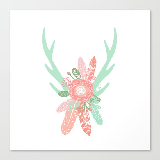 Deer antler florals flower bouquet with antlers minimal boho nursery art decor Canvas Print