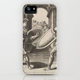 Vintage Gladiator Sword Fight Illustration (1560) iPhone Case