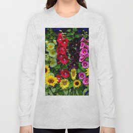ENGLISH HOLLYHOCKS & SUNFLOWER GARDEN Long Sleeve T-shirt