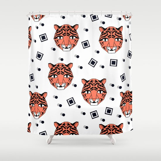 Happy Tiger by Andrea Lauren Shower Curtain
