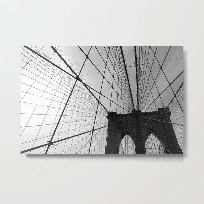 Brooklyn Bridge Black and White Metal Print