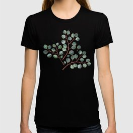 Simple Silver Dollar Eucalyptus Leaves on White T-shirt