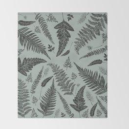 Green Ferns Throw Blanket