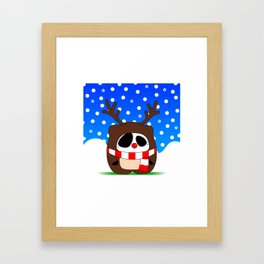 Panda Plopz (Reindeer) Framed Art Print