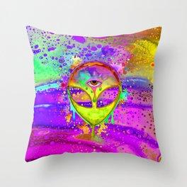 Alien Melt - yellow Throw Pillow