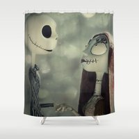 nightmare before christmas Shower Curtains featuring Take My Hand (Nightmare Before Christmas) by LT-Arts