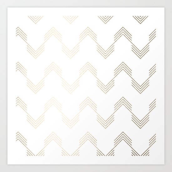 Simply Deconstructed Chevron White Gold Sands on White Art Print