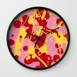 Paint Dance Pink Square Yellow Red on Black Wall Clock