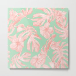 Tropical Palm Leaves Hibiscus Pink Mint Green Metal Print