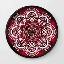 Mandala Red Colorburst Wall Clock