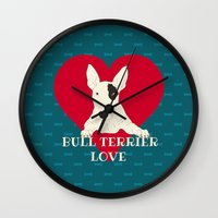 bull terrier Wall Clocks featuring Bull Terrier Love by ShaMiLa