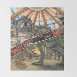 When Dinosaurs Ruled the Earth - Jurassic Park T-Rex Throw Blanket