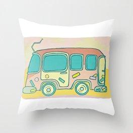 Hippie Bus Throw Pillow