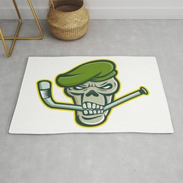 Green Beret Skull Ice Hockey Mascot Rug