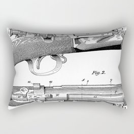 Bolt Action Rifle Patent - Repeating Receiver Art - Black And White Rectangular Pillow