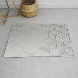 Silver Platinum Geometric White Mable Cubes Rug