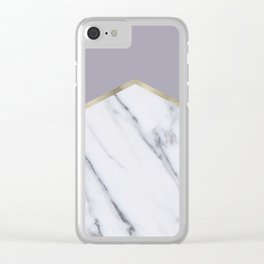 Smokey lilac - gold geometric marble Clear iPhone Case