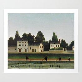 Landscape and Four Fisherman (Paysage et quatre pêcheurs à la ligne) by Henri Rousseau. Art Print