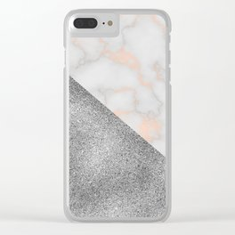 Rose gold marble and silver glitter Clear iPhone Case