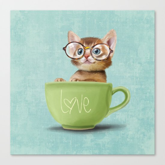 Kitten with glasses Canvas Print