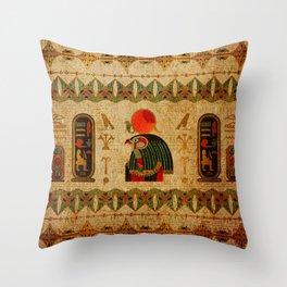 Egyptian Horus Ornament on Papyrus Throw Pillow