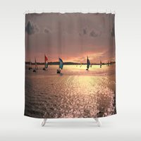sail Shower Curtains featuring Sunset Sail In Bermuda by Judy Palkimas
