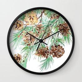 pine cones watercolor Wall Clock