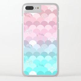 Modern teal pink scallope mermaid gradient Clear iPhone Case
