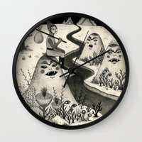 chad wys Wall Clocks featuring Weary Vagabond  by Jon MacNair