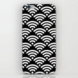 WiFi Pattern (white on black) iPhone Skin
