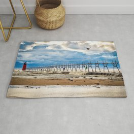 """South Haven Lighthouse"" - South Haven, MI Rug"