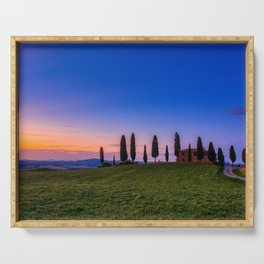 Cypress trees and meadow with typical tuscan house Serving Tray
