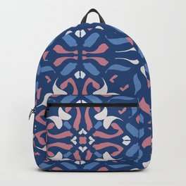 Blue and Rose Pink Mandala Portuguese Hand Painted Tile - Symmetry Geometric Texture - Abstract Royal Backpack