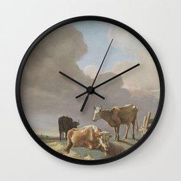 Jean-Etienne Liotard - Landschap met koeien, schapen en herderin, gewijzigde kopie naar een schilder Wall Clock