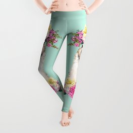 Flower Crown Llama in Green Leggings