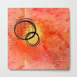Orange Inky Scribbles Metal Print