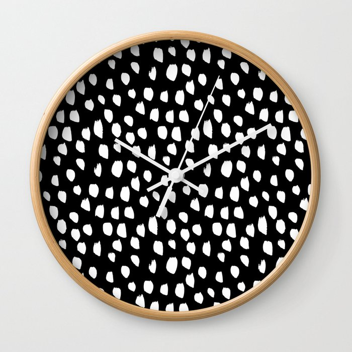 Handdrawn drops and dots on black-Mix & Match with Simplicty of life Wall Clock
