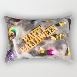 Halloween: Fog Drifts Around Candy And Disco Ball On Holiday Background Rectangular Pillow