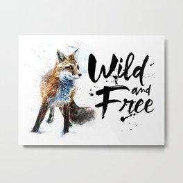 Fox wild & free watercolor painting Metal Print