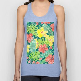 Tropical garden, hibiscus plumeria and palm leaves Unisex Tank Top